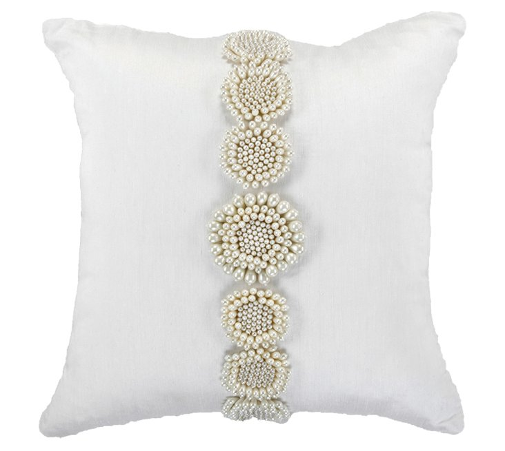 Embellished 18x18 Pillow, White