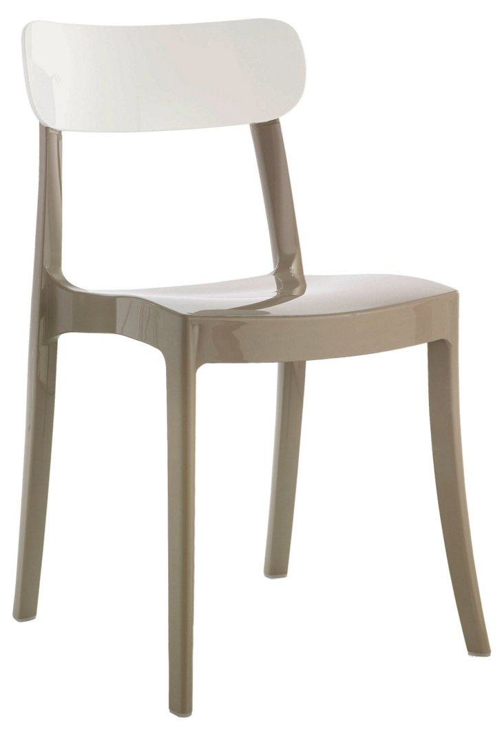 DNU. R-New Retro Chair, Taupe/White