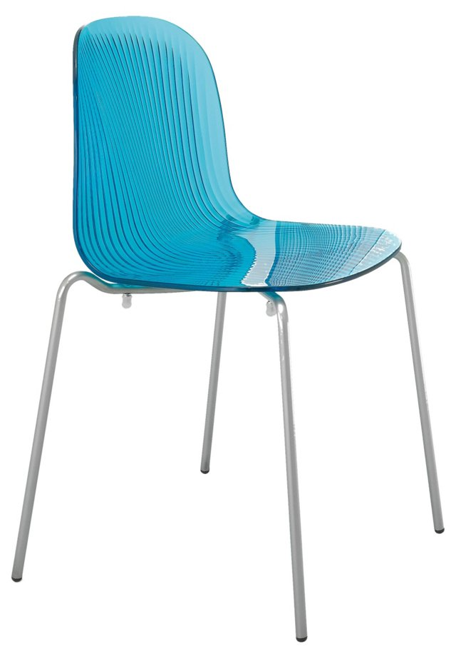 Playa Chromed Chair, Blue