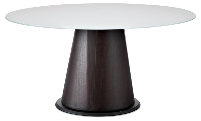 "DNU Palio 60"" Dining Table, White Glass"