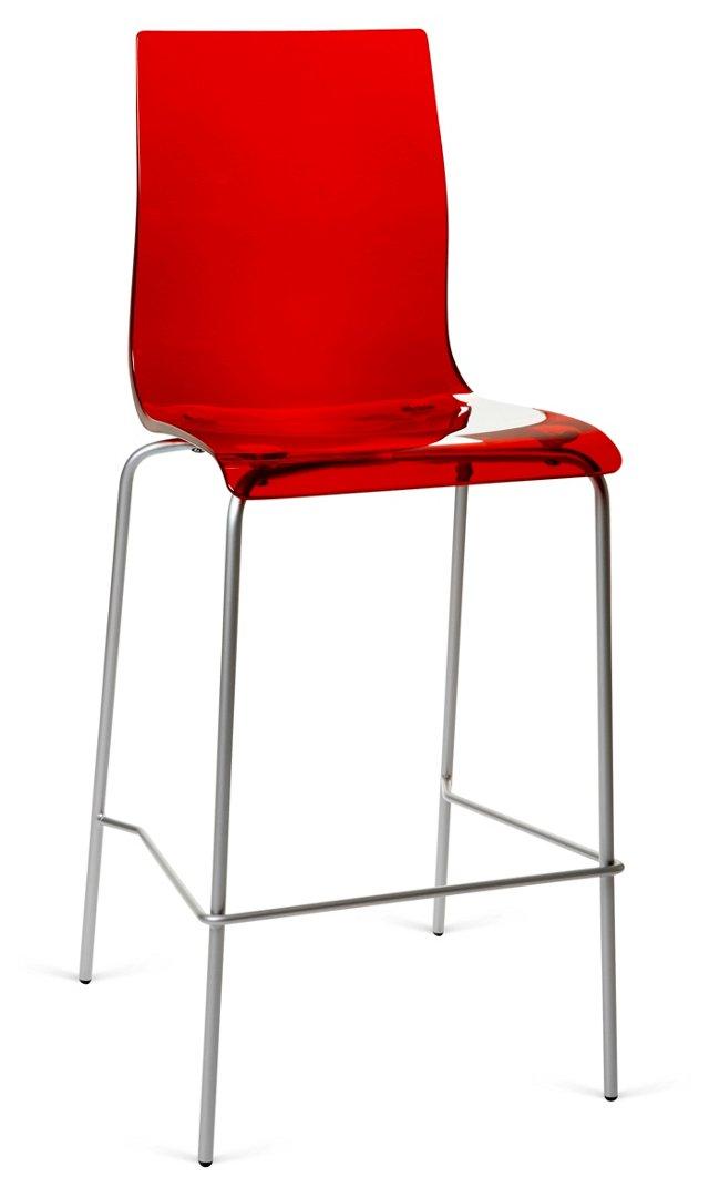 Gel Barstool, Silver/Red