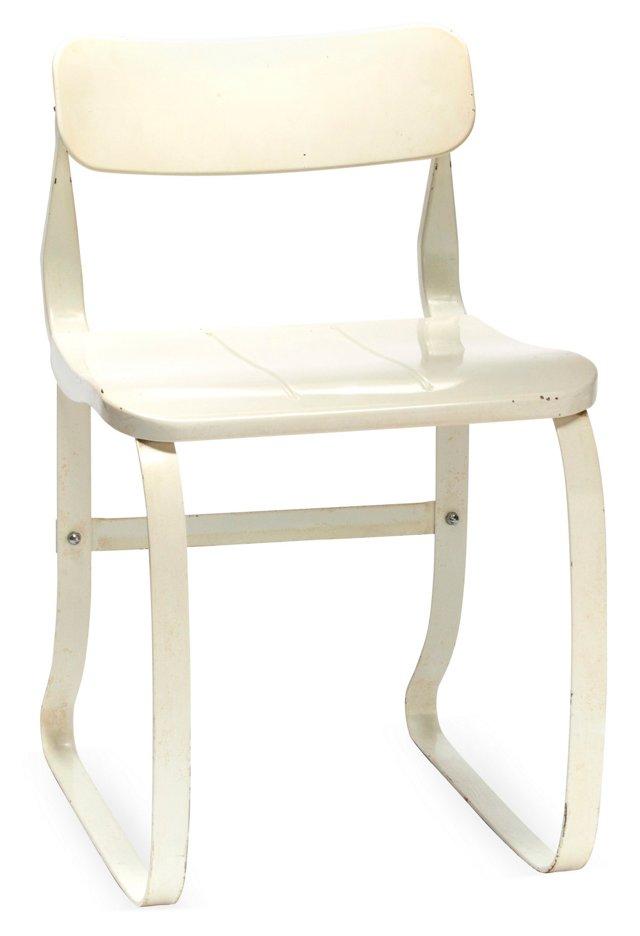 Midcentury White Enamel Chair