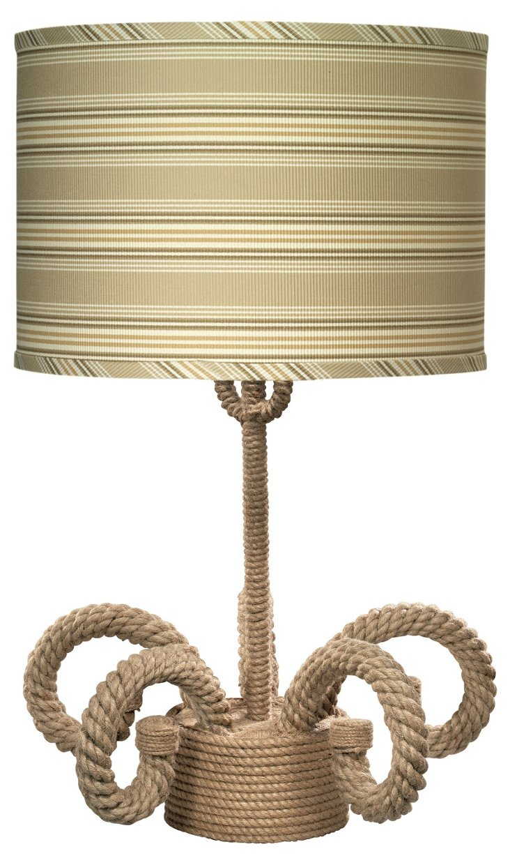 Nautique Scroll Lamp, Drum Shade, Khaki