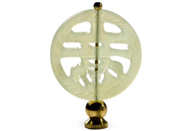 Round Jade Finial, Brass