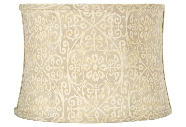 Small Hourglass Shade, Leaf Scroll Linen