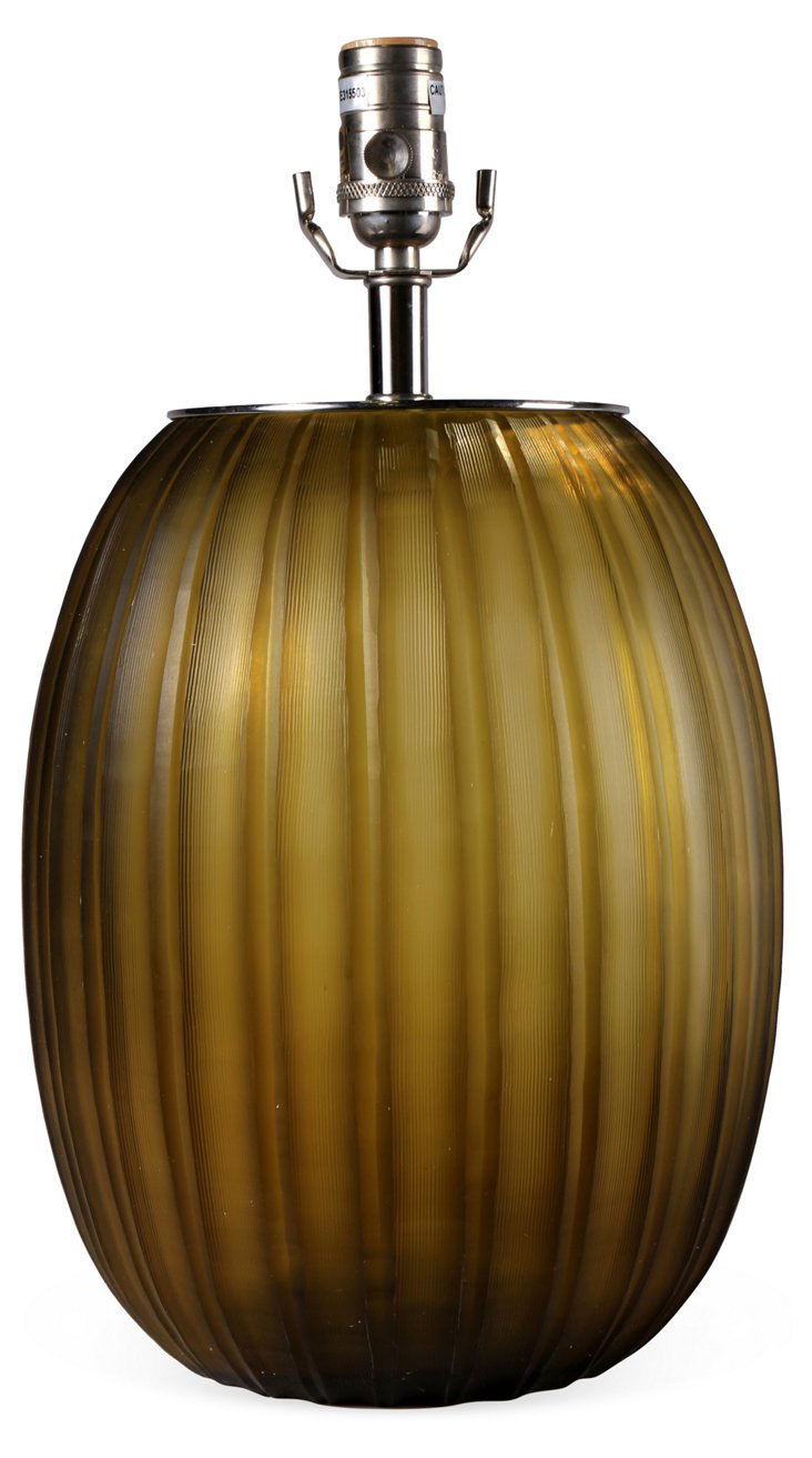 Ribbed Etched Table Lamp Base, Olive