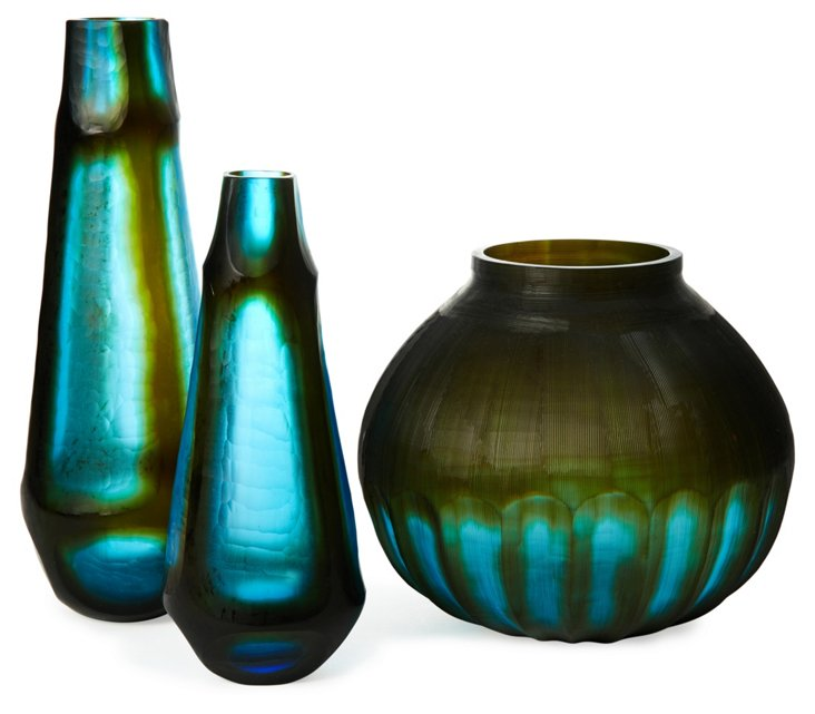 Set of 3 Tie Dyed Glass Vases