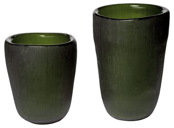 Set of 2 Etched Slump Vases, Olive