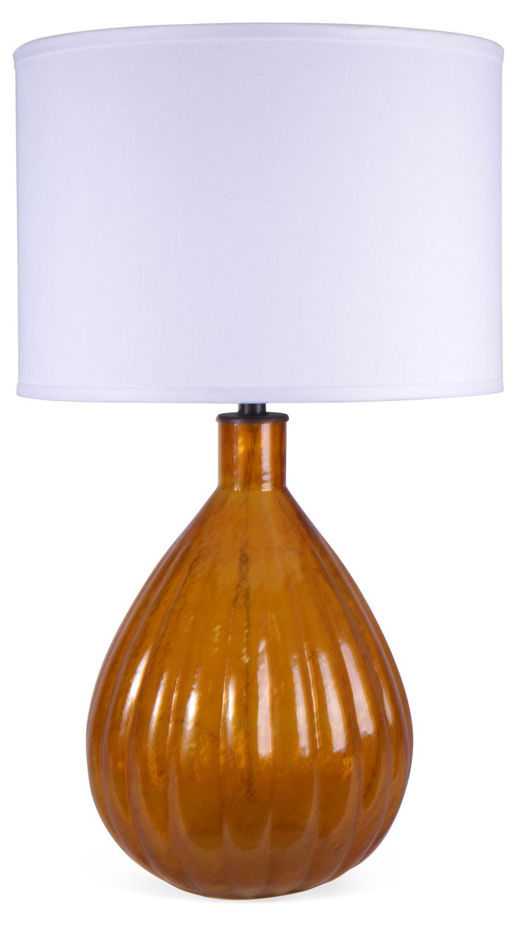 Fluted Pear Lamp, Amber