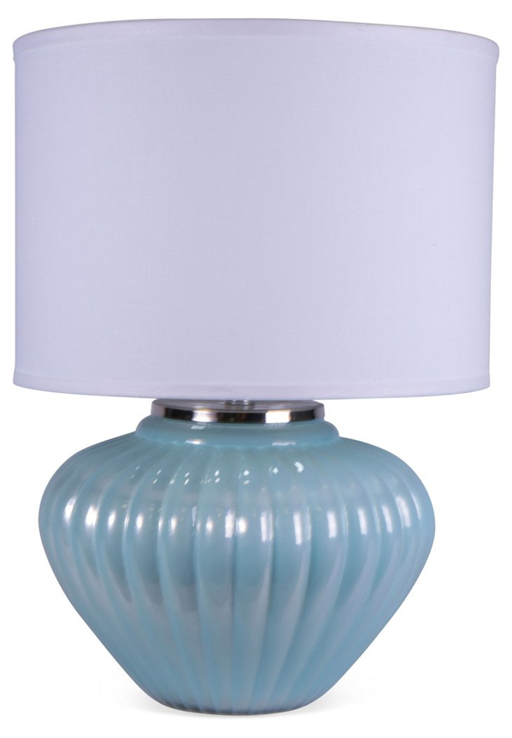 Fluted Gourd Lamp, Ice Blue