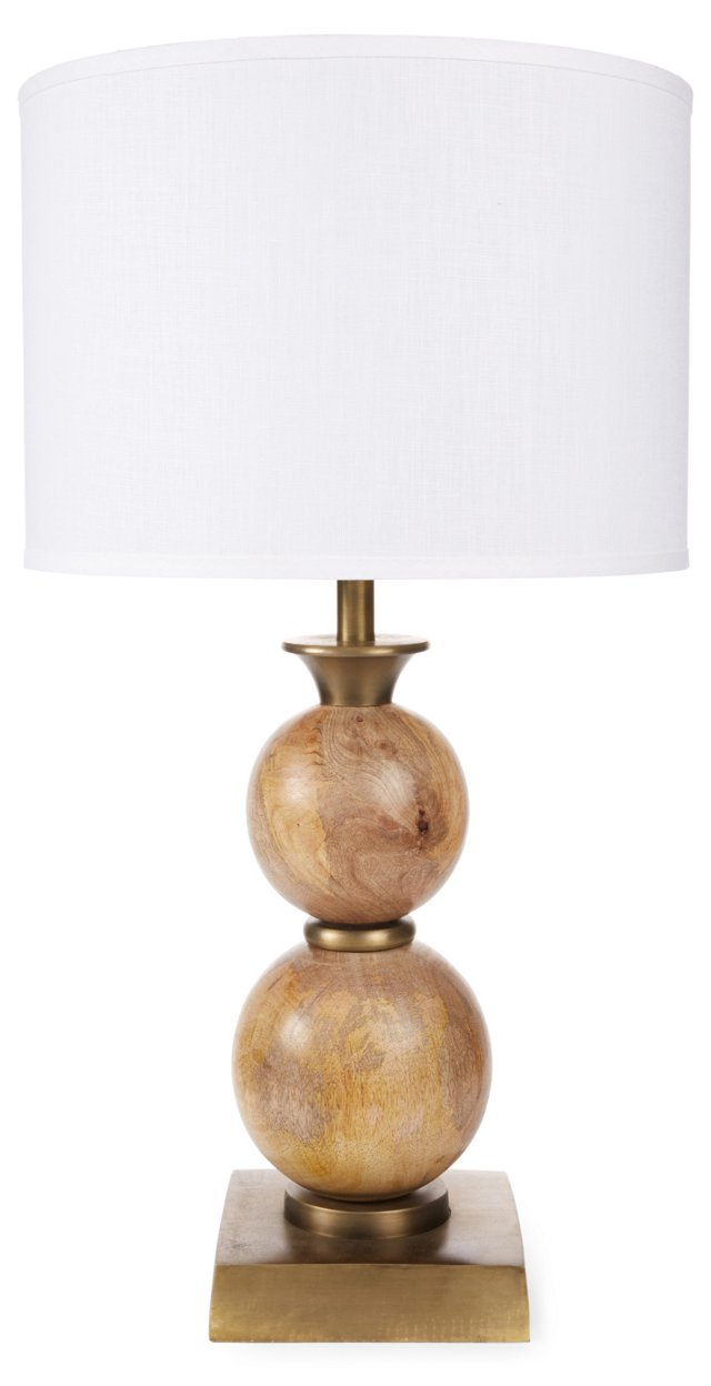 Classic Double Ball Lamp, Natural Wood