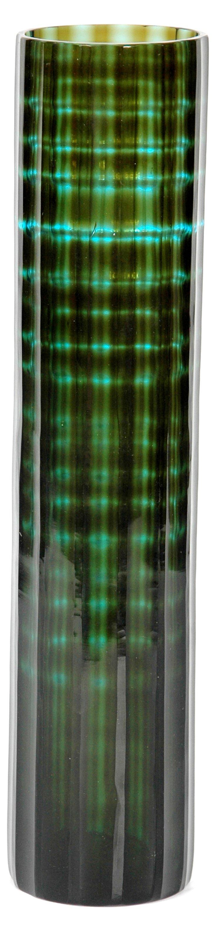 """19"""" Gradient Glass Flower Vase, Green"""