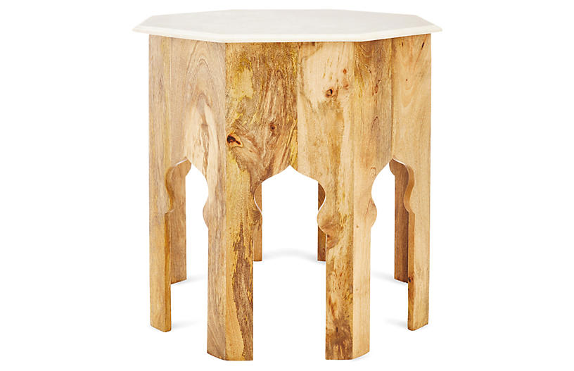 Elinor Side Table, Natural/White