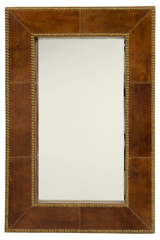 Sombre Wall Mirror, Tobacco Leather