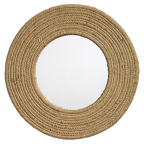 "Large 24"" Round Jute Accent Mirror, Natural"