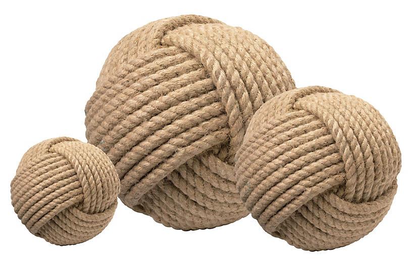 Asst. of 3 Jute Balls, Natural