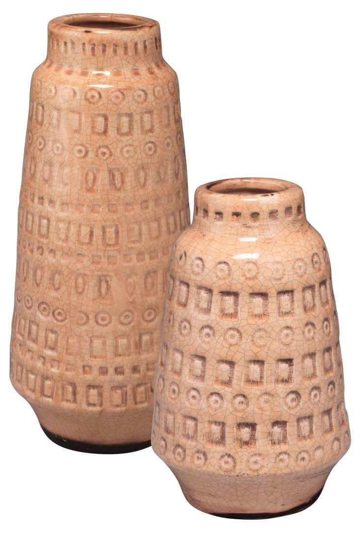 S/2 Asst. Coco Vessels, Pink