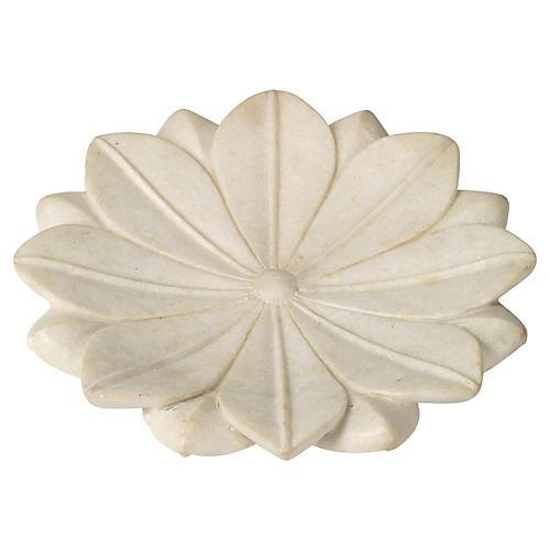 "15"" Marble Lotus Plate"