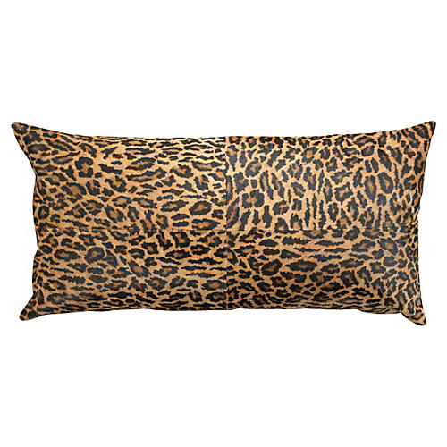 Leopard 14x24 Hide Pillow, Brown