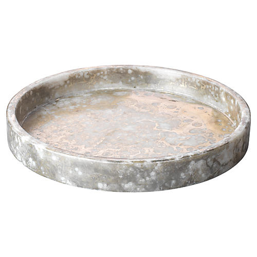 """12"""" Marble Low Tray, Silver/Gold"""