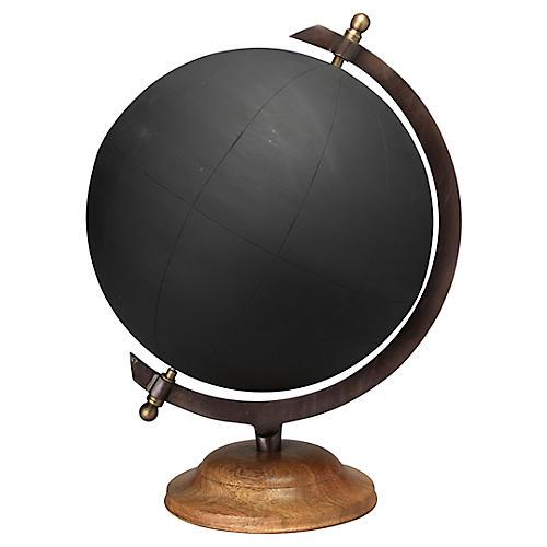 "17"" Chalkboard Globe, Black"