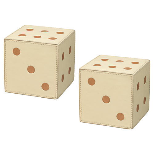 S/2 Leather Dice, Cream/Tan