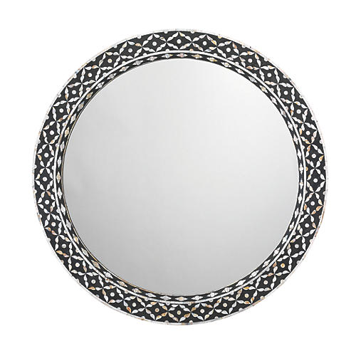 Evelyn Round Mirror, Black/White