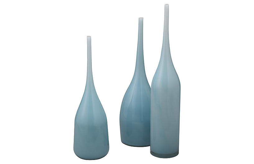 Asst. of 3 Pixie Glass Vases, Periwinkle Blue