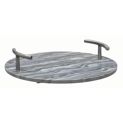 "16"" Carter Round Marble Tray, Gray/Silver"
