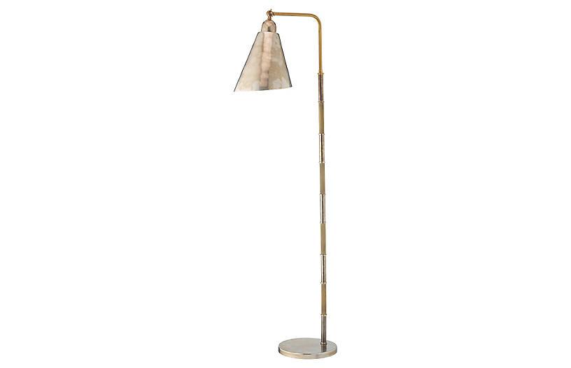 Vilhelm Floor Lamp, Antiqued Silver/Brass