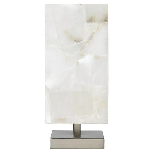 Ghost Axis Table Lamp, Alabaster/Silver