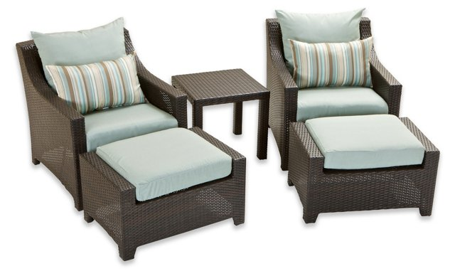 Palmetto 5-Pc Club Chairs, Ottomans Set