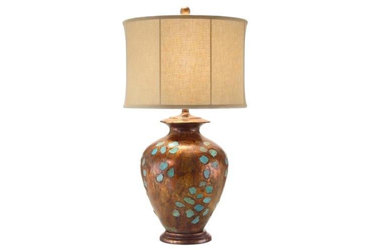 Inlaid Turquoise Vase Lamp