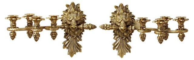 Pair of Lion-Head Wall Sconces, Brass