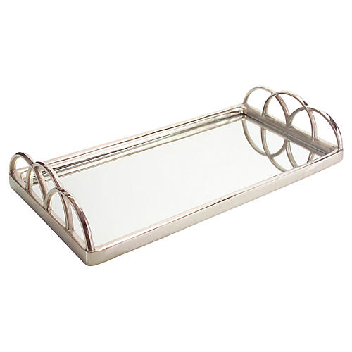 "30"" Mirrored Tray, Silver"