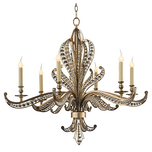 Beaded 6-Light Chandelier, Silver