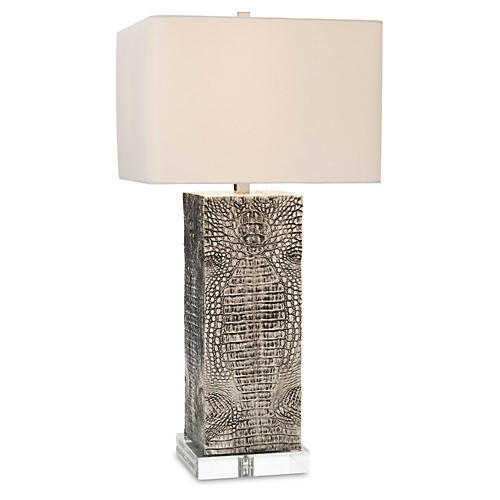 Embossed Croc Table Lamp, Silver