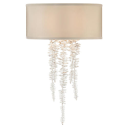 Cascading Crystal Sconce, Silver