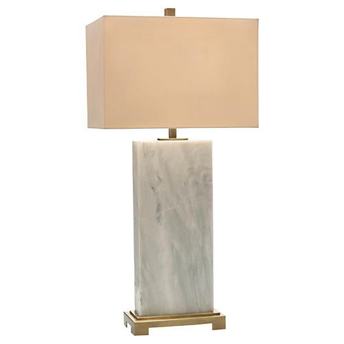 Marble Slab Table Lamp, White