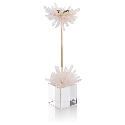 Quartz Starburst Candleholder, White