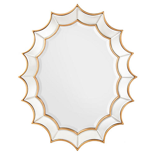 Scalloped Oversize Wall Mirror, Gold