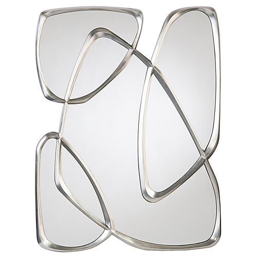 Zeta Oversize Wall Mirror, Pewter