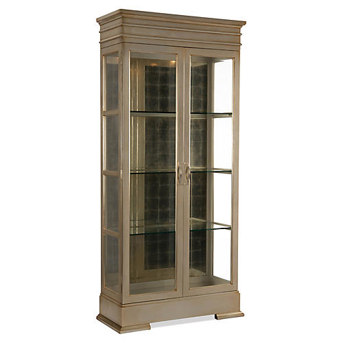 Stallings Display Cabinet, Silver Leaf