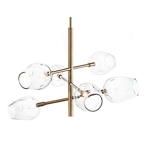Glass Globe 6-Light Pendant, Brass/Clear