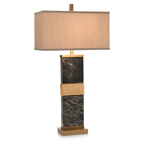 Column Marble Table Lamp, Brass/Black