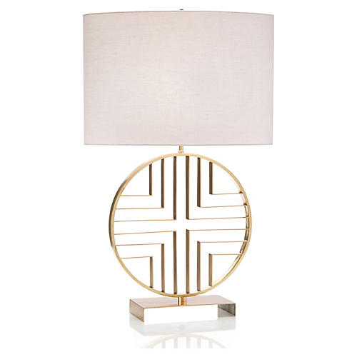Cross Table Lamp, Polished Brass