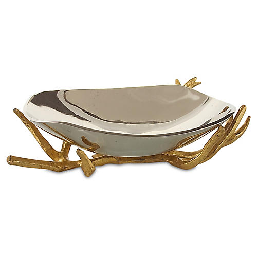 "15"" Lawrie Bowl, Silver/Gold"