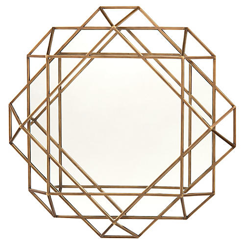 Torino Lattice Wall Mirror, Mayan Bronze