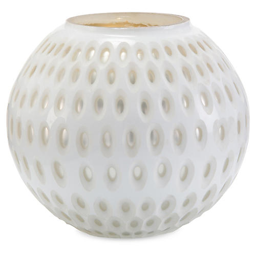 "10"" Opal & Mercury Vase, White/Silver"