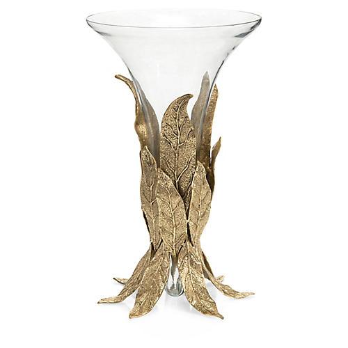 "17"" Sakura Leaf Vase, Brass/Clear"